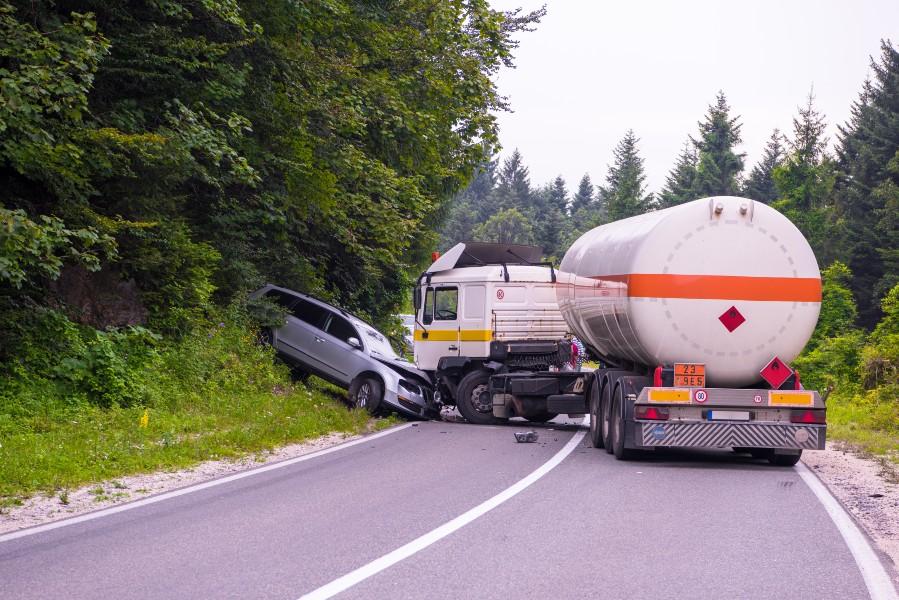 Grave truck collision accident scene in Atlanta.